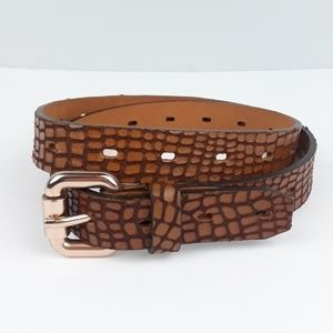 Fossil | Embossed Leather Rose Gold Buckle Belt